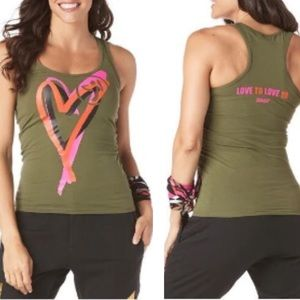 🛍Zumba Fitness Be About Love Racerback Tank NWT